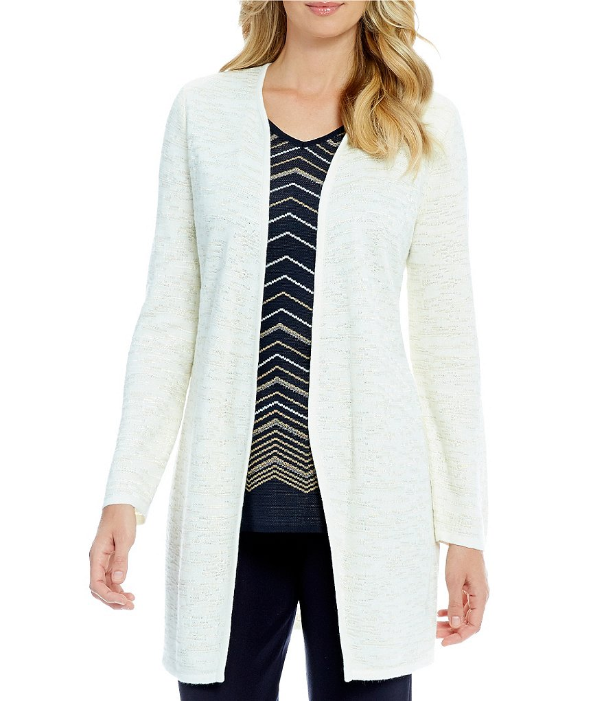 Ming Wang Long Drape Front Cardigan