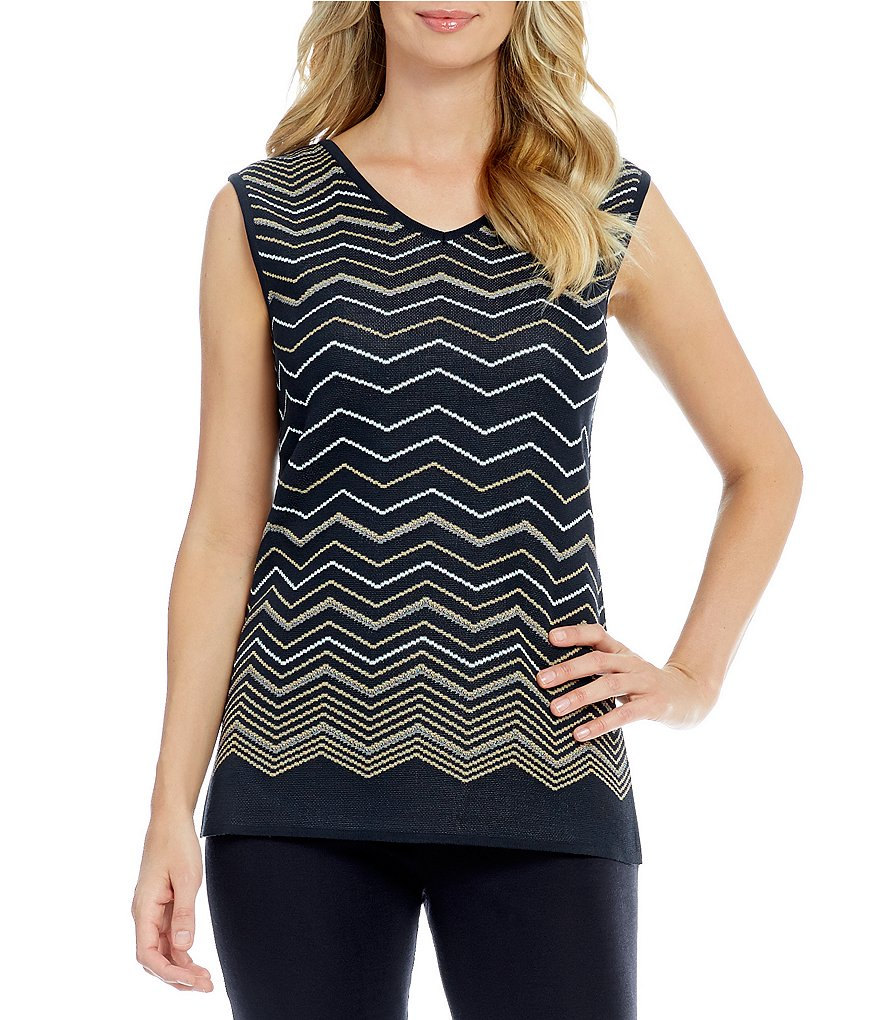 Ming Wang V Neck Chevron Stripe Tank