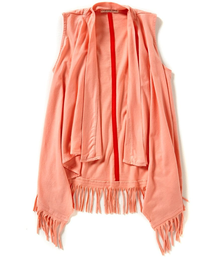 Copper Key Little Girls Fringe Drape-Front Cardigan