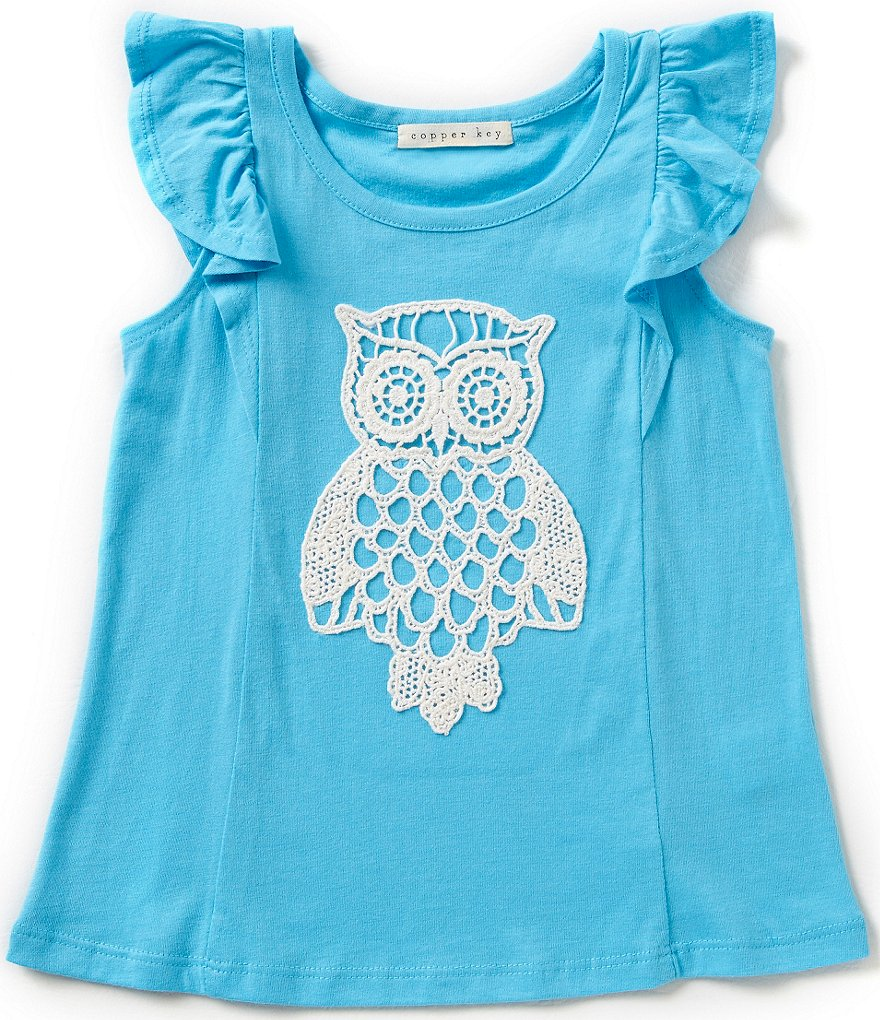 Copper Key Little Girls 2T-6X Crochet Owl Top