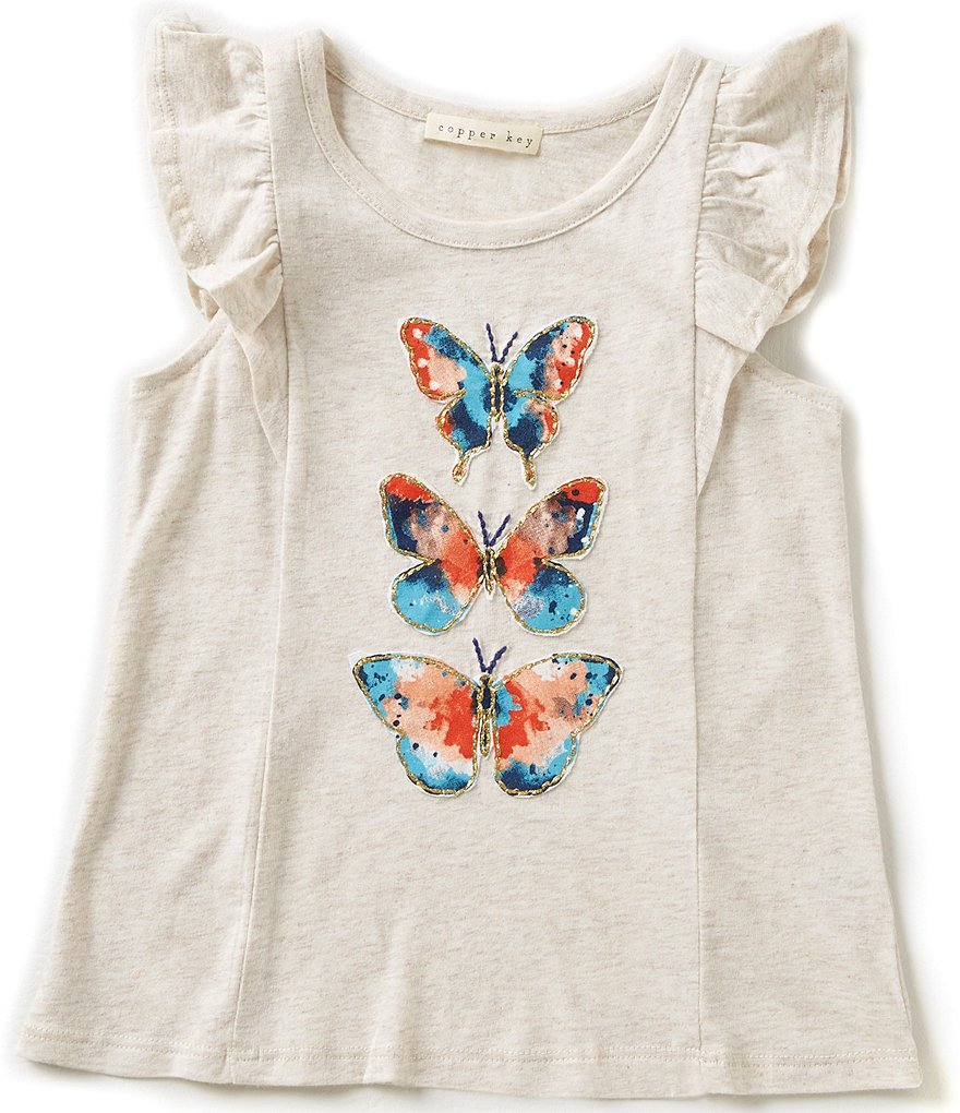 Copper Key Little Girls 2T-6X Butterfly Top