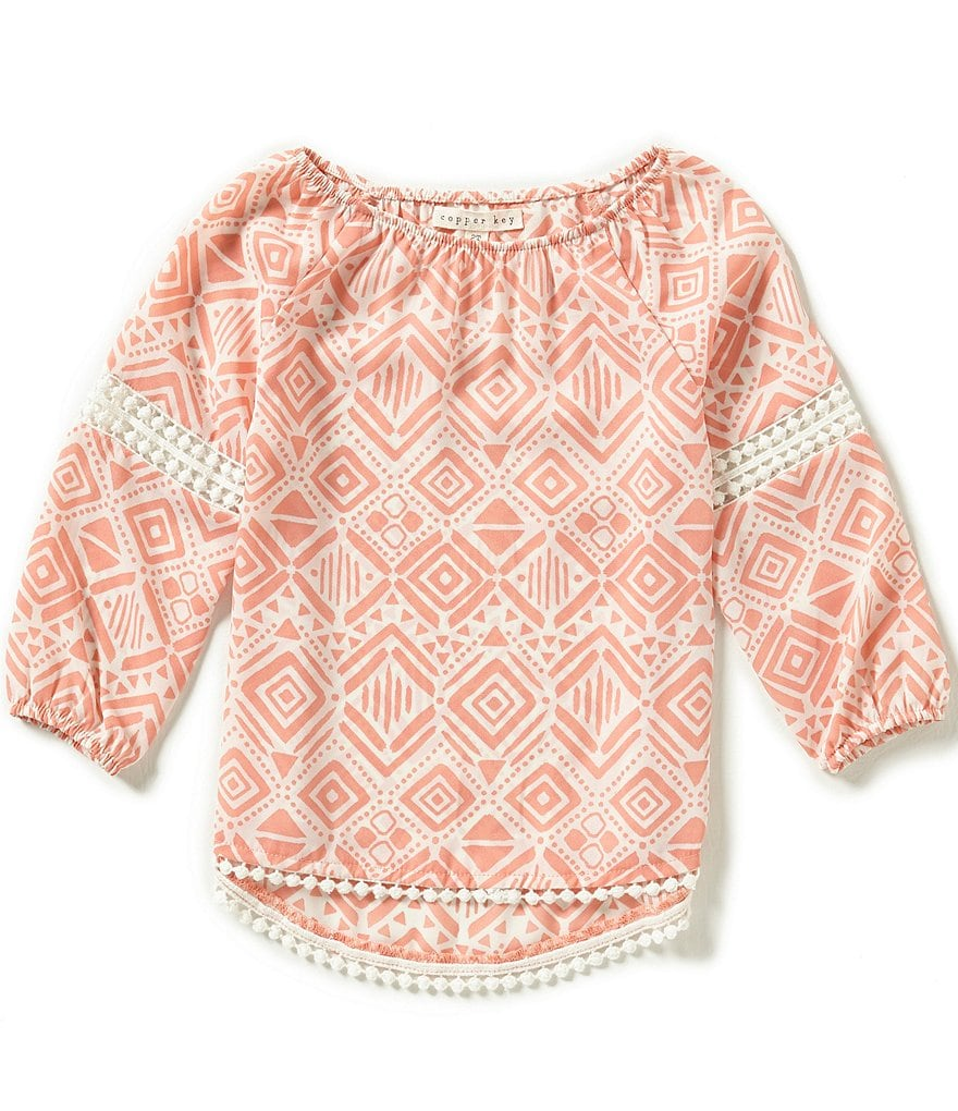 Copper Key Little Girls 2T-6X Geo Woven Blouse
