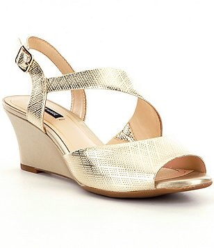 Alex Marie Averee Metallic Leather Wedge Sandals