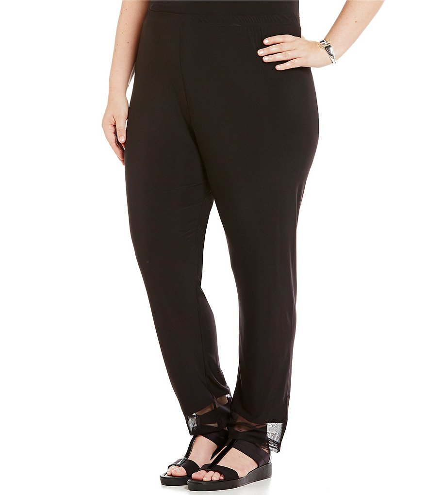 IC Collection Plus Mesh Trim Skinny-Leg Pants