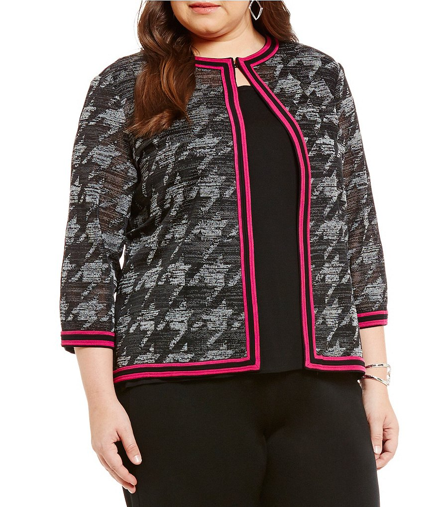 Ming Wang Plus Jewel Neck Pattern Jacket