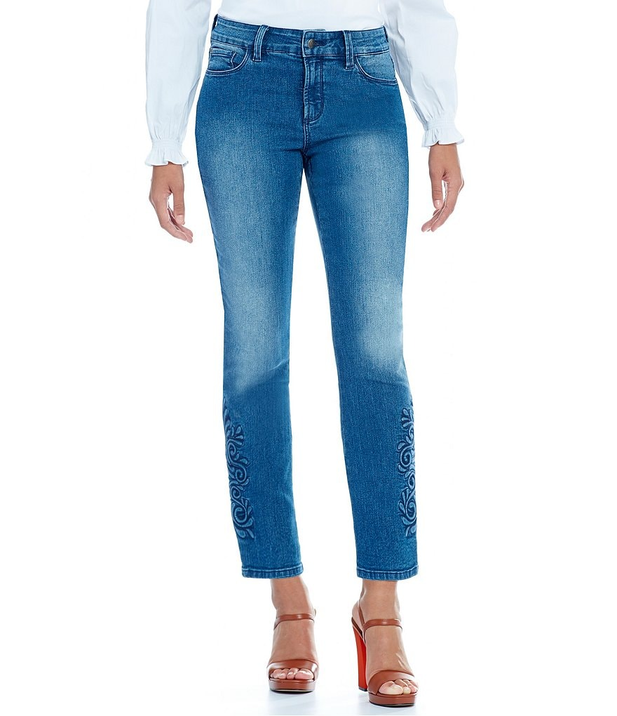 NYDJ Ira Relaxed Ankle Jeans with Hemline Embroidery