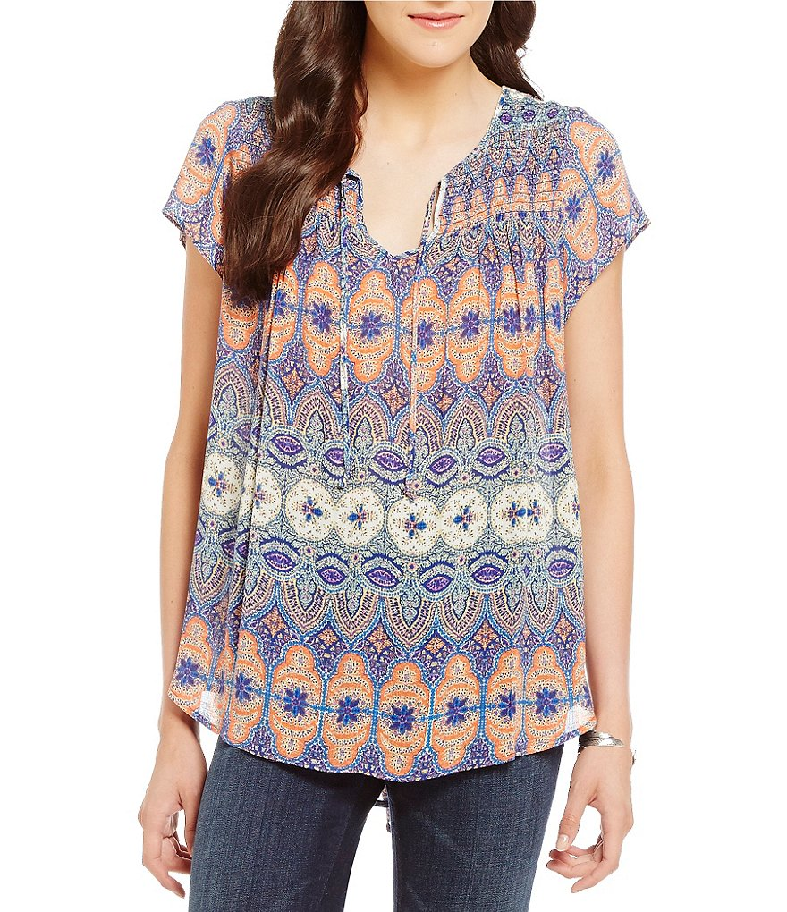 Lucky Brand Short Sleeve Geo Print Smocked Woven Top
