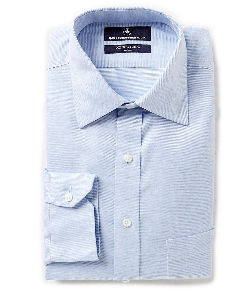 Hart Schaffner Marx Non-Iron Fitted Classic-Fit Spread-Collar Solid Dress Shirt