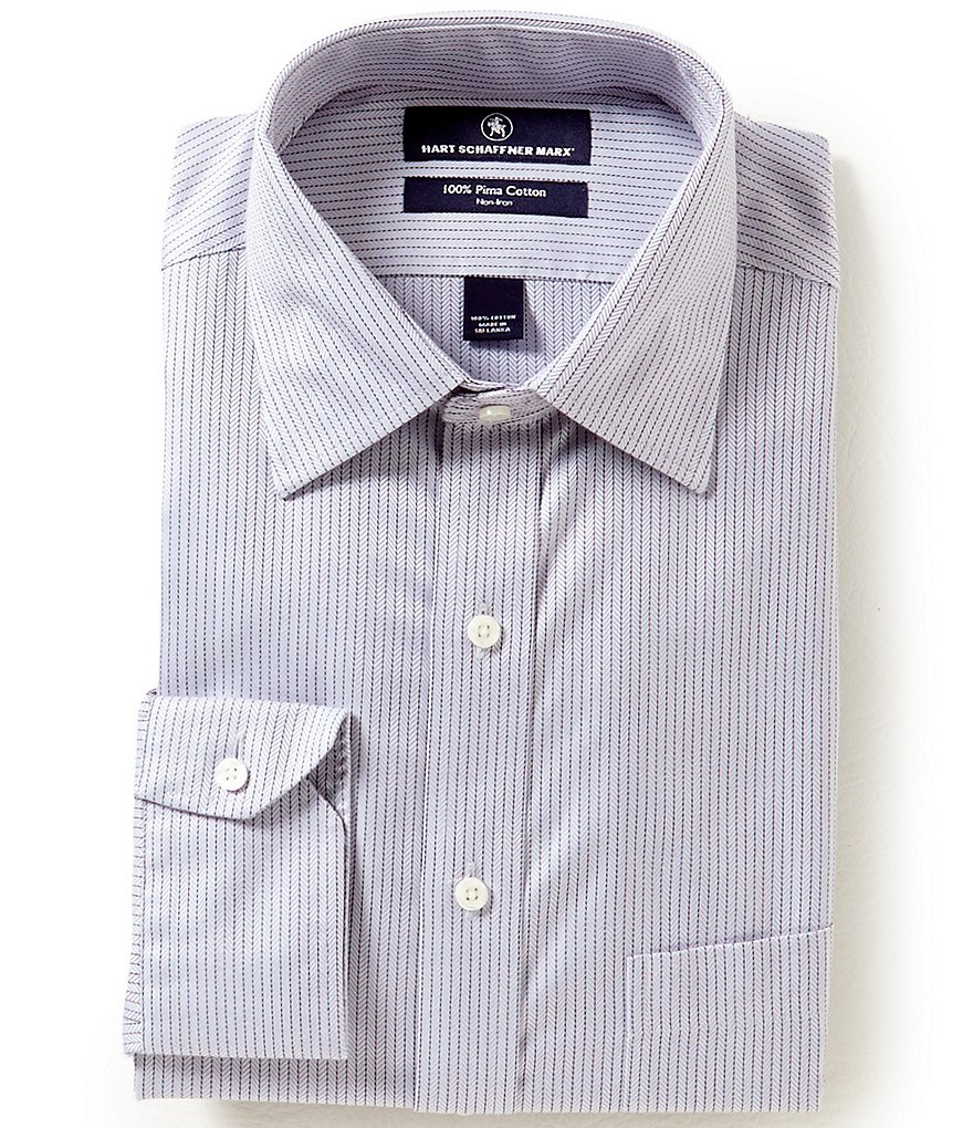 Hart Schaffner Marx Non-Iron Fitted Classic-Fit Spread-Collar Striped Herringbone Dress Shirt
