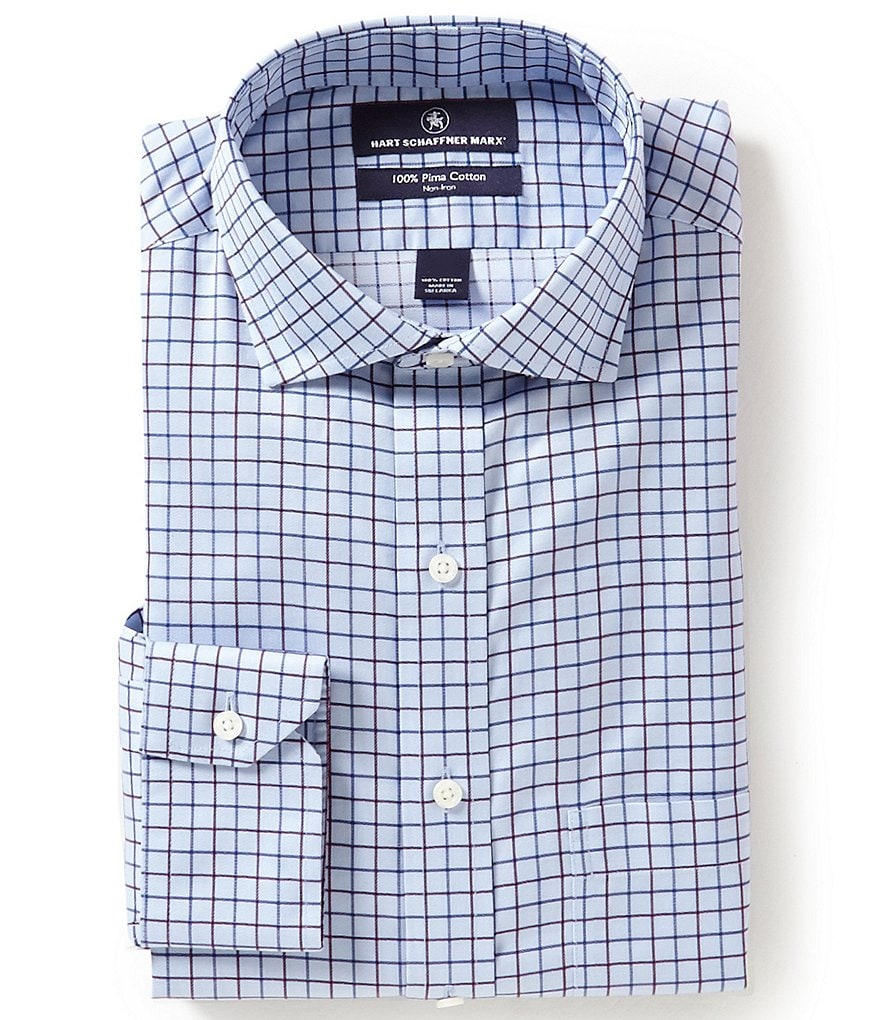 Hart Schaffner Marx Non-Iron Fitted Classic-Fit Cutaway-Collar Checked Dress Shirt