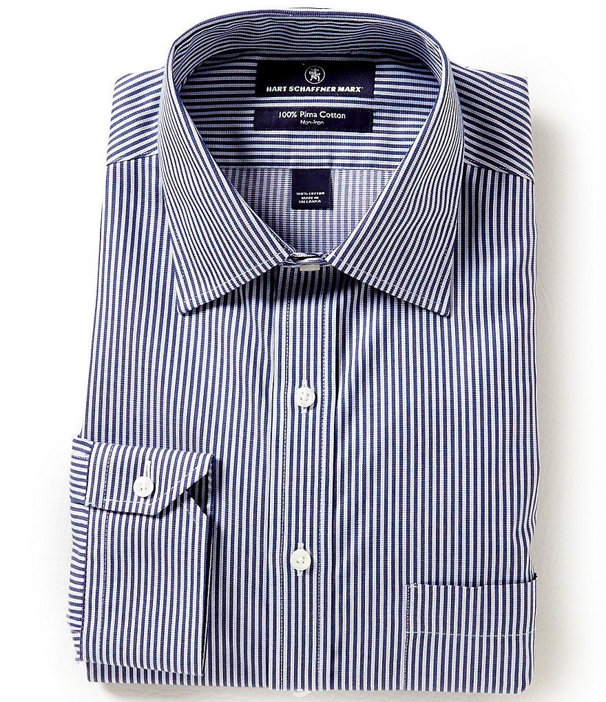 Hart Schaffner Marx Non-Iron Fitted Classic-Fit Spread-Collar Striped Dress Shirt