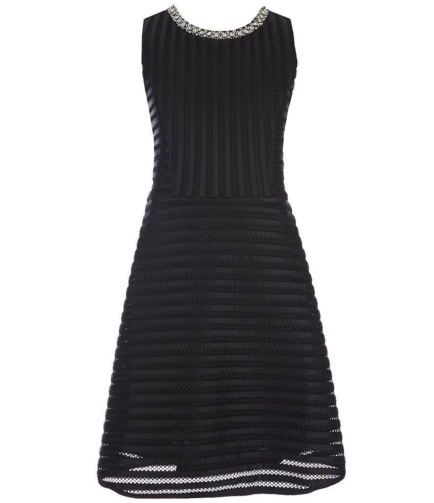 Monteau Girl Big Girls 7-16 Textured-Stripe Fit-and-Flare Dress