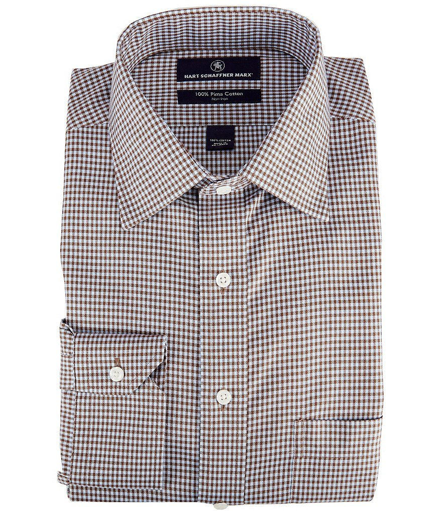 Hart Schaffner Marx Non-Iron Fitted Classic-Fit Spread-Collar Gingham Check Dress Shirt