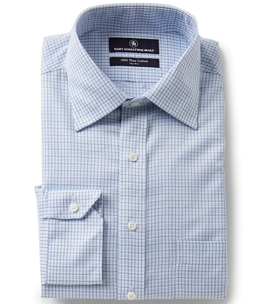 Hart Schaffner Marx Non-Iron Fitted Classic-Fit Spread-Collar Grid Patterned Dress Shirt