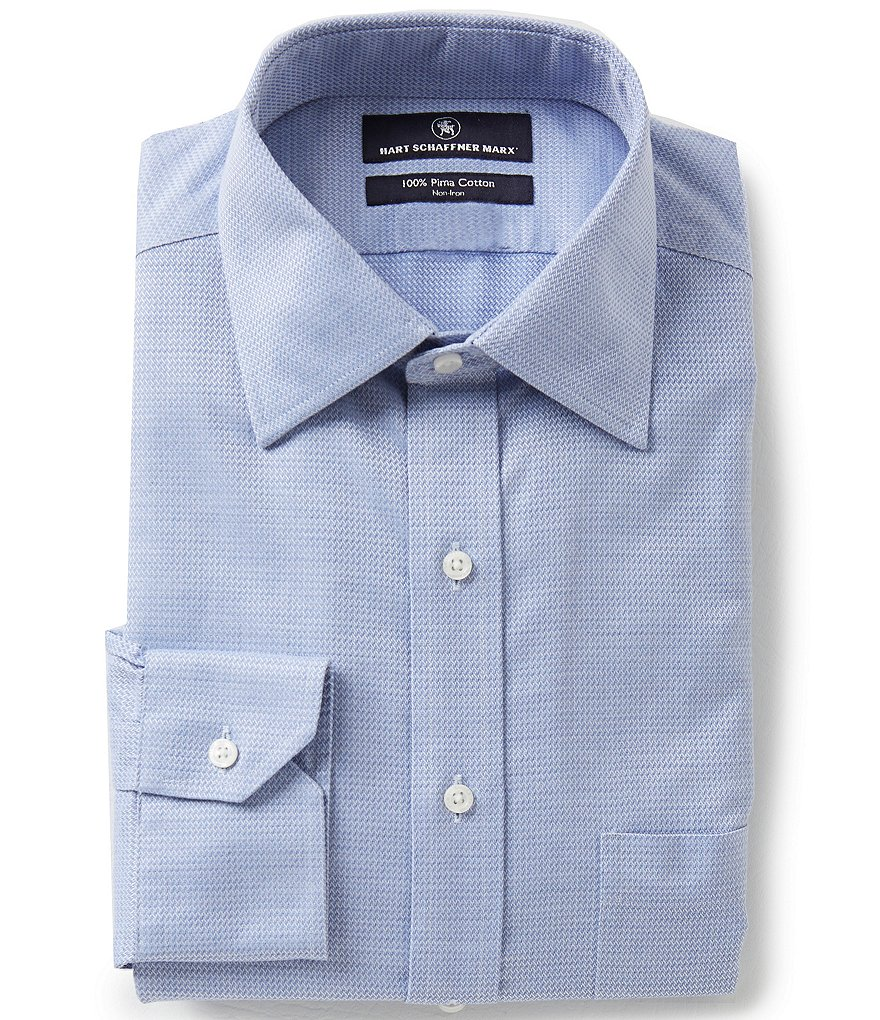 Hart Schaffner Marx Non-Iron Fitted Classic-Fit Spread-Collar Dress Shirt