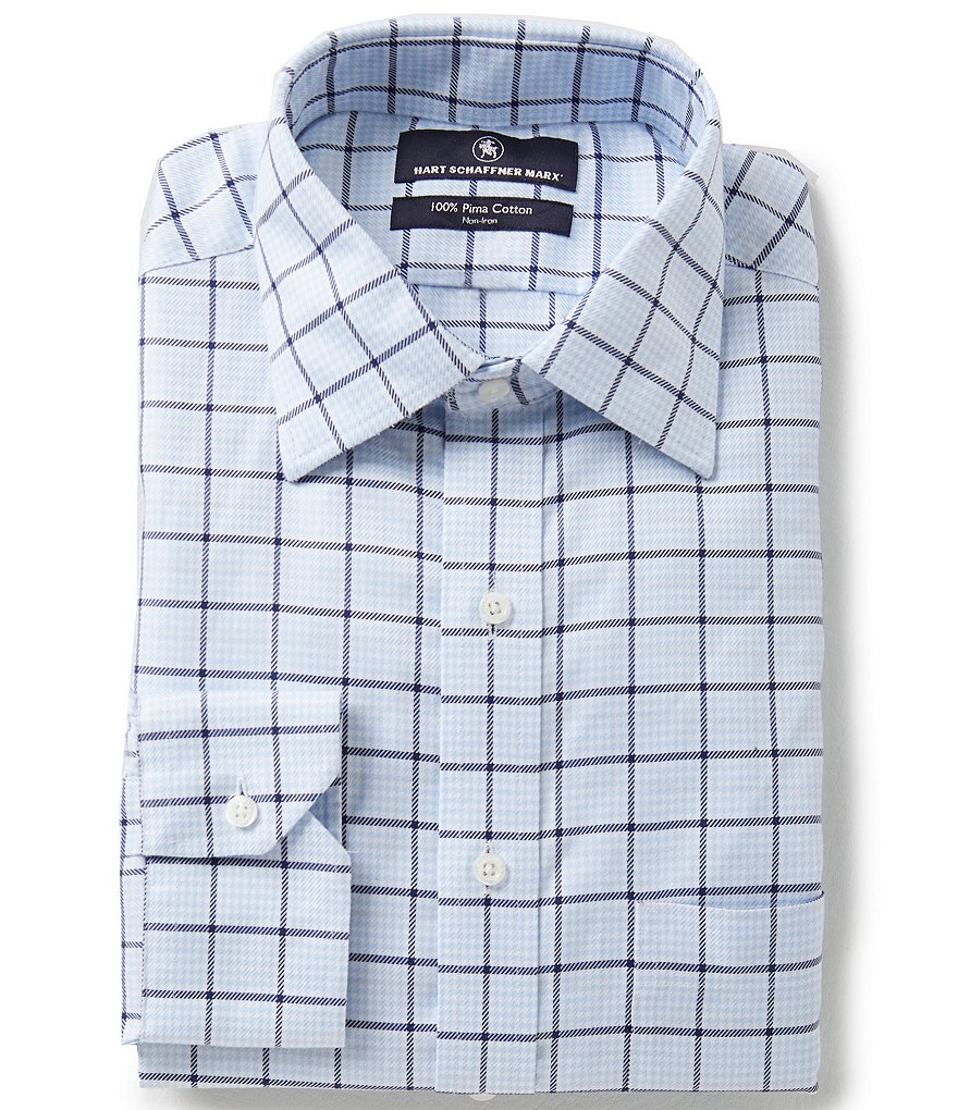 Hart Schaffner Marx Non-Iron Fitted Classic-Fit Spread-Collar Windowpane Check Dress Shirt