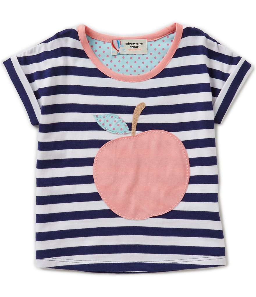 Adventure Wear by Copper Key Little Girls 2T-4T Striped Apple Top