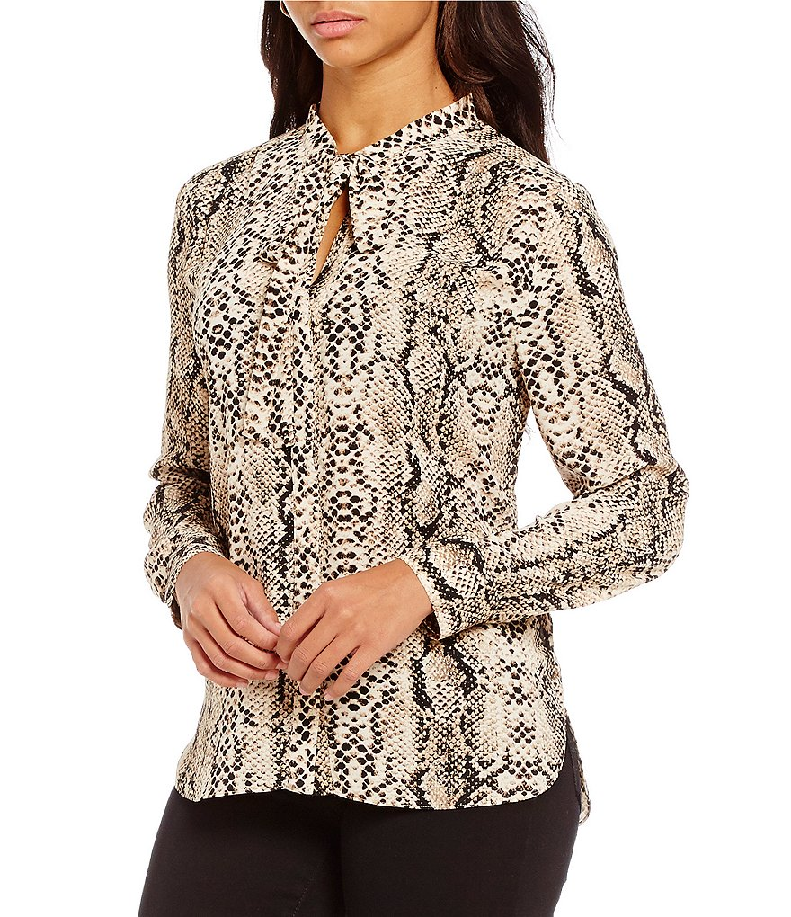 NYDJ Long Sleeve Tie-Neck Victorian Python Print Blouse