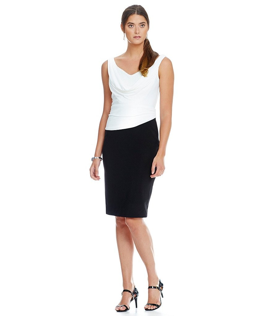 Cachet Colorblock Cowl Neck Sheath Dress