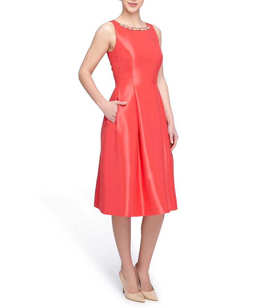 Tahari ASL Petite Beaded Neck Shantung Sleeveless Midi Party Dress