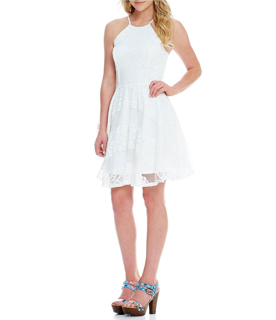 GB Halter Fit-and-Flare Lace Dress