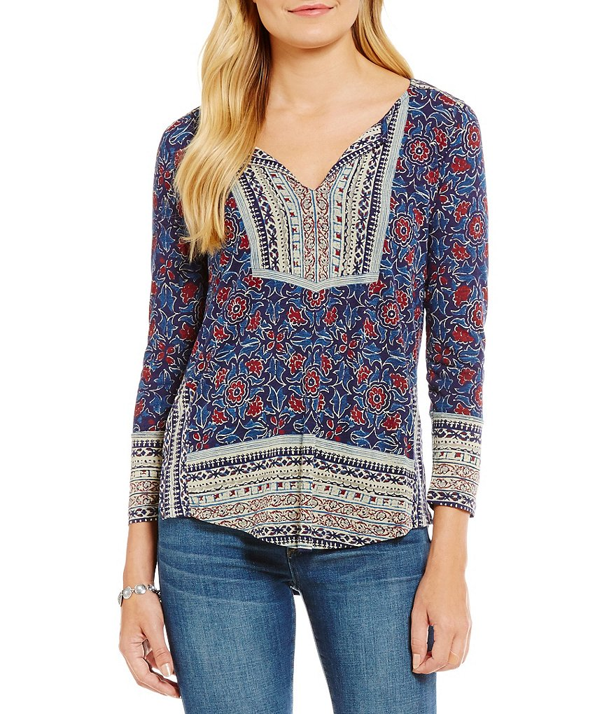 Lucky Brand Block Floral Print Knit Top