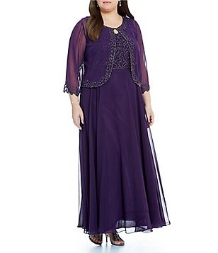 Jkara Plus Long Sleeve Beaded Jacket Dress