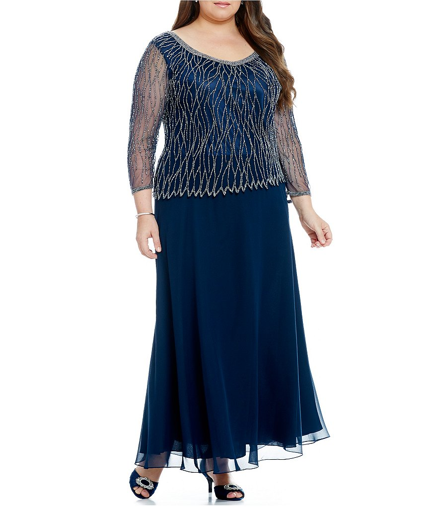 Jkara Plus 3/4-Sleeve V-Neck Beaded Dress