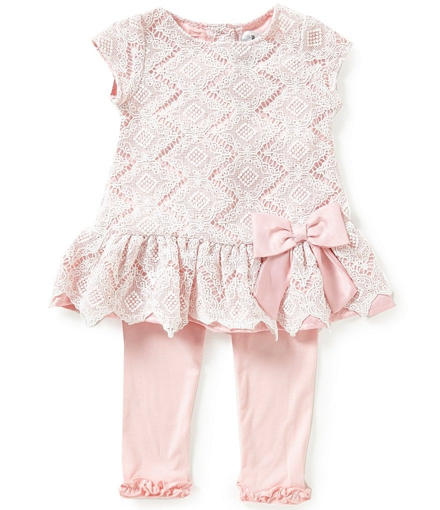 Rare Editions Little Girls 2T-6X Diamond-Pattern Lace Top and Pants Set