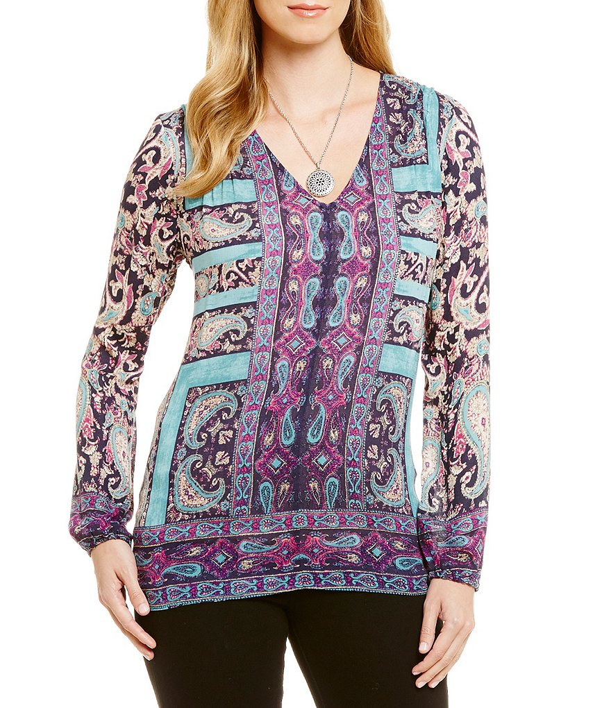 Lucky Brand Moroccan Border Print Peasant Top