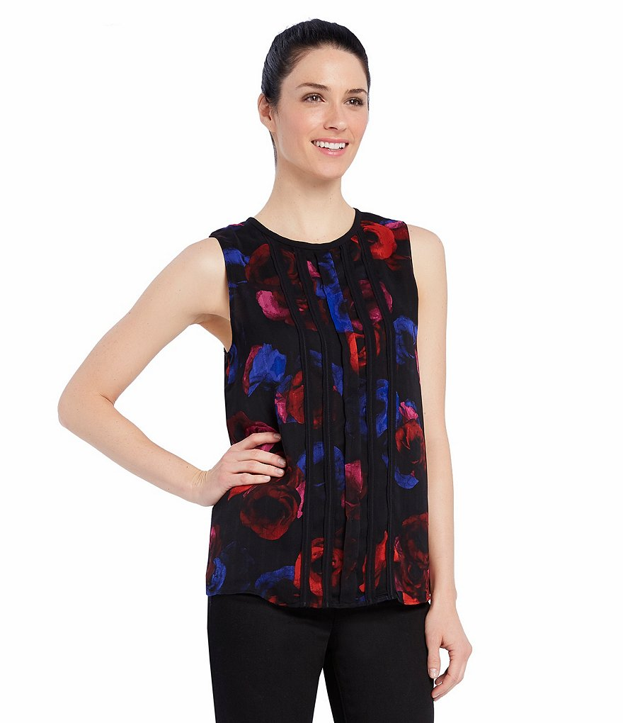 Ellen Tracy Raw Edge Pleat Front Double Layer Shell