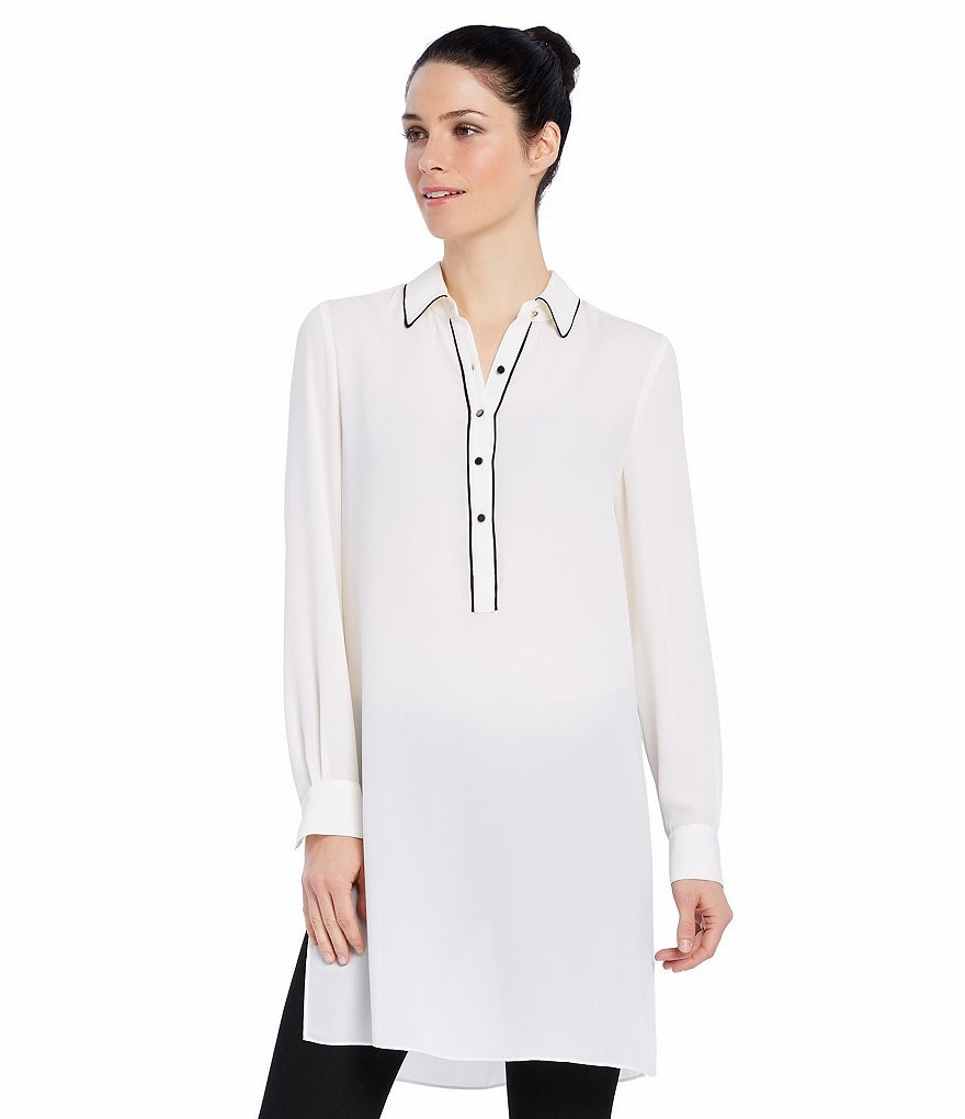 Ellen Tracy Elongated Georgette Shirt Tunic