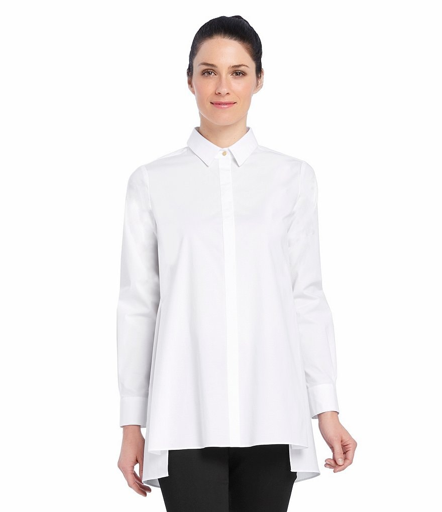 Ellen Tracy Hi-Low Stepped Hem Stretch Poplin Shirt