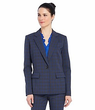 Ellen Tracy Glenn Plaid Fitted Boyfriend Blazer