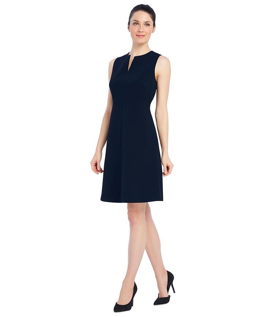 Ellen Tracy Seasonless Stretch Split Neck A-Line Dress
