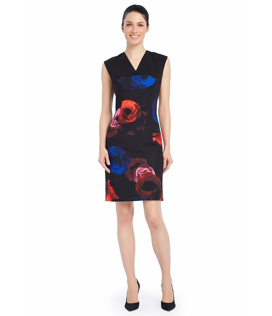 Ellen Tracy Colorblocked Print Seamed Sheath Dress