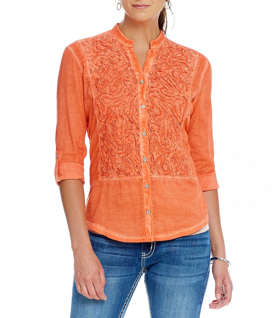 Reba Sahara Oasis Gabrielle Knit Button Front Top