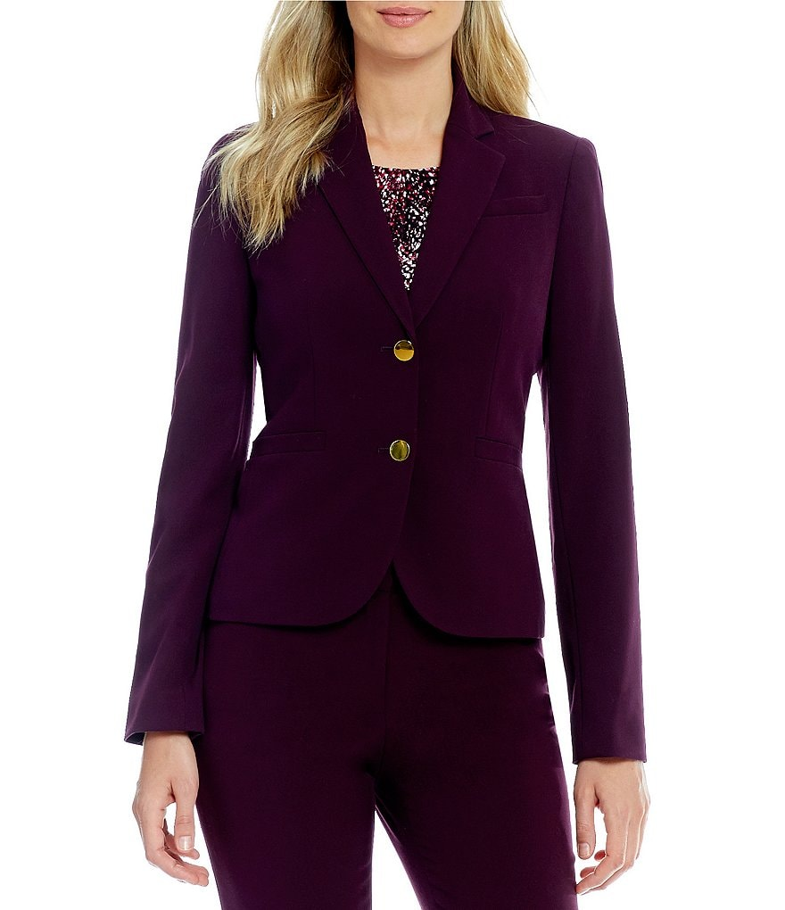 Calvin Klein Petites Luxe Stretch Suiting Two-Button Jacket