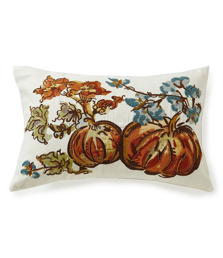 Southern Living Beaded Pumpkin-Embroidered Breakfast Pillow