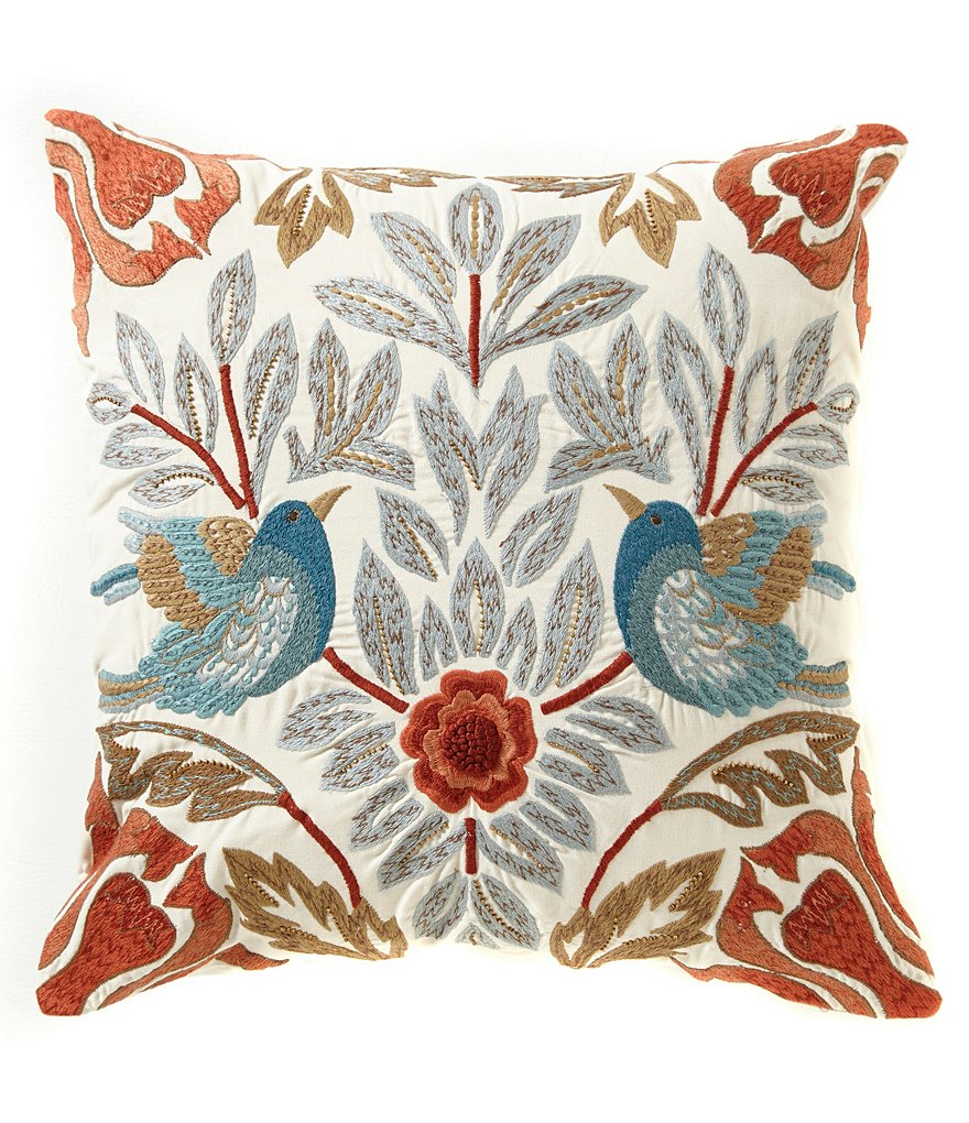 Southern Living Botanical Bird-Embroidered Square Pillow