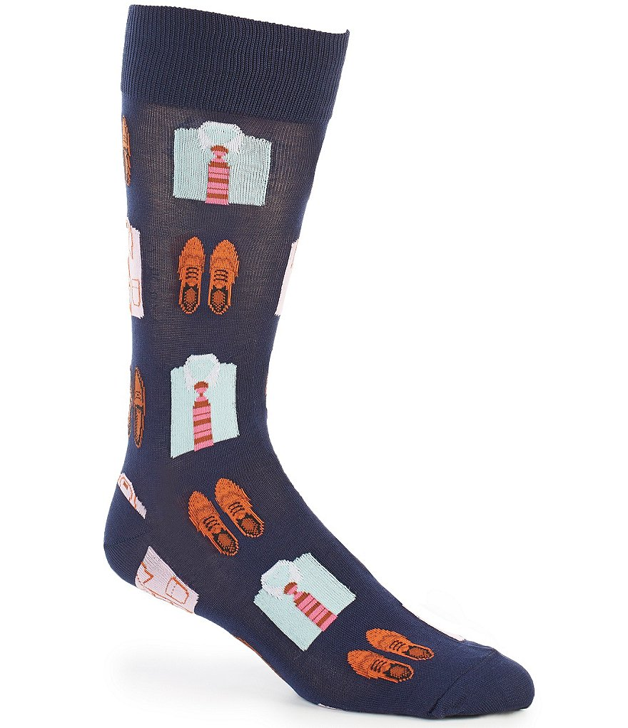 Hot Sox Shirts And Loafers Repeating Print Crew Socks