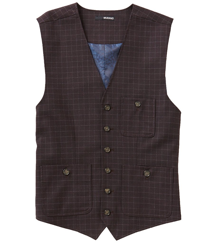 Murano Plaid Patch-Pocket Vest