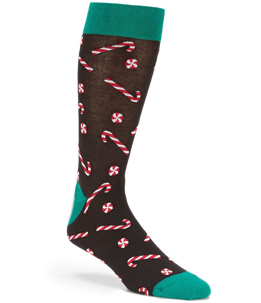 Hot Sox Holiday Candy Cane Print Crew Socks