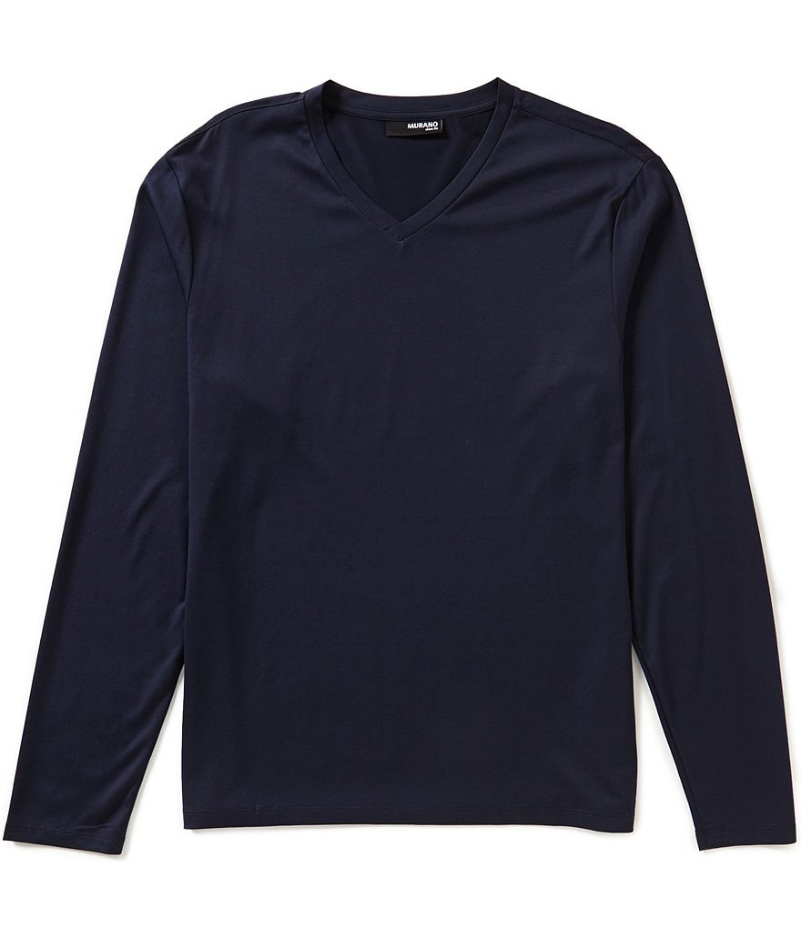 Murano Liquid Luxury Long-Sleeve Slim-Fit V-neck Knit Shirt