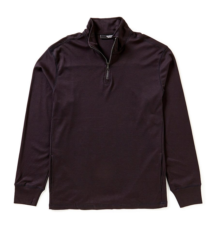 Murano Long-Sleeve Slim-Fit Liquid Luxury Quarter Zip Mock-Neck Shirt