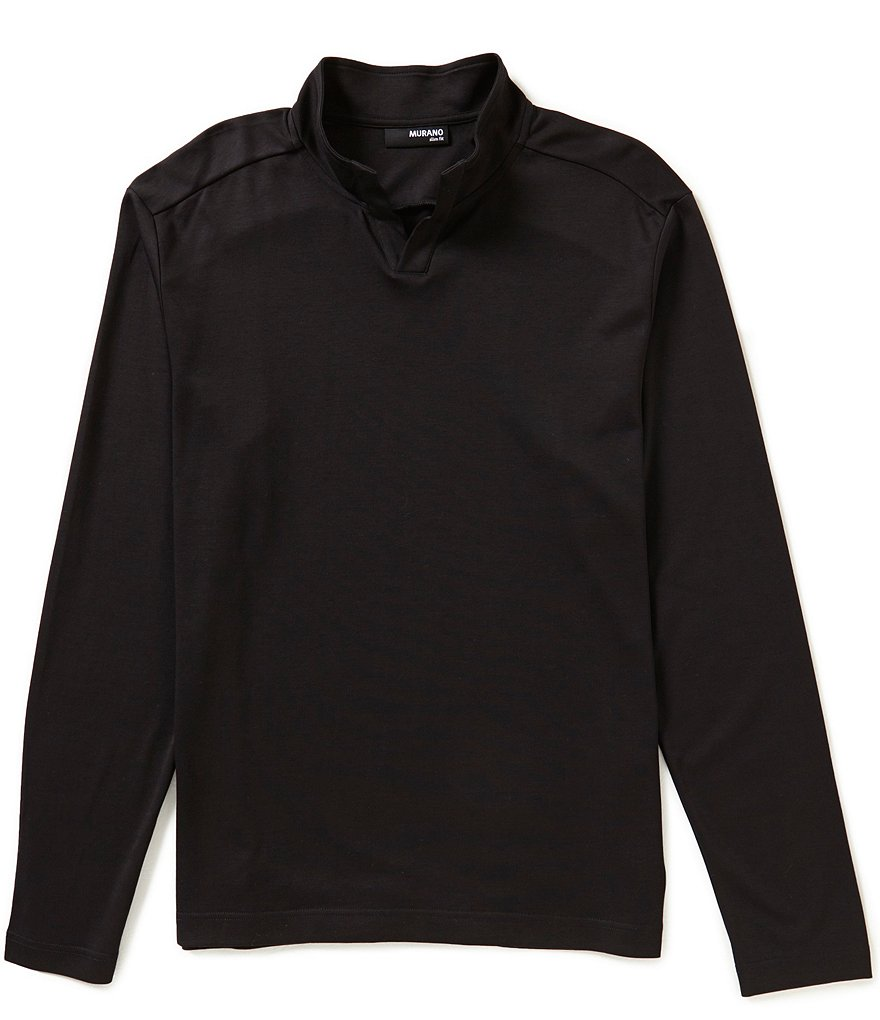 Murano Long-Sleeve Slim-Fit Open Mock-Neck Shirt