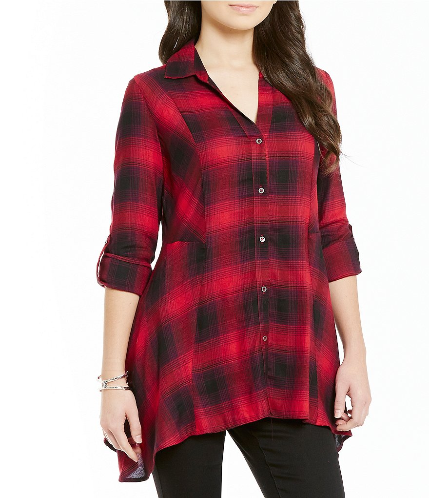 Code Bleu Y-Neck Long Sleeve Button-Front Plaid Blouse