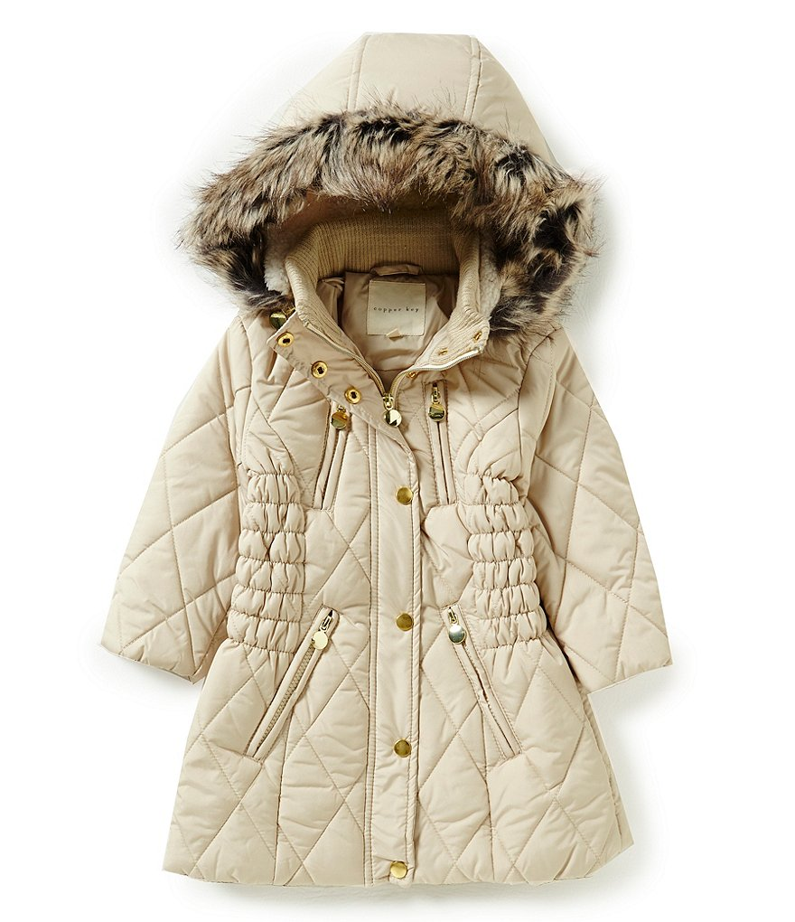 Copper Key Little Girls 2T-6X Faux-Fur Hooded Quilted Puffer Coat