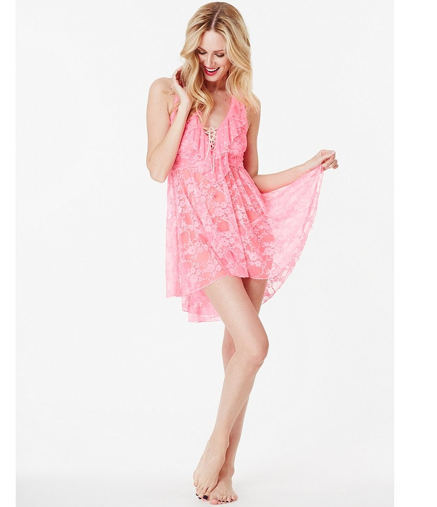 Betsey Johnson Floral Lace & Dotted Mesh Babydoll