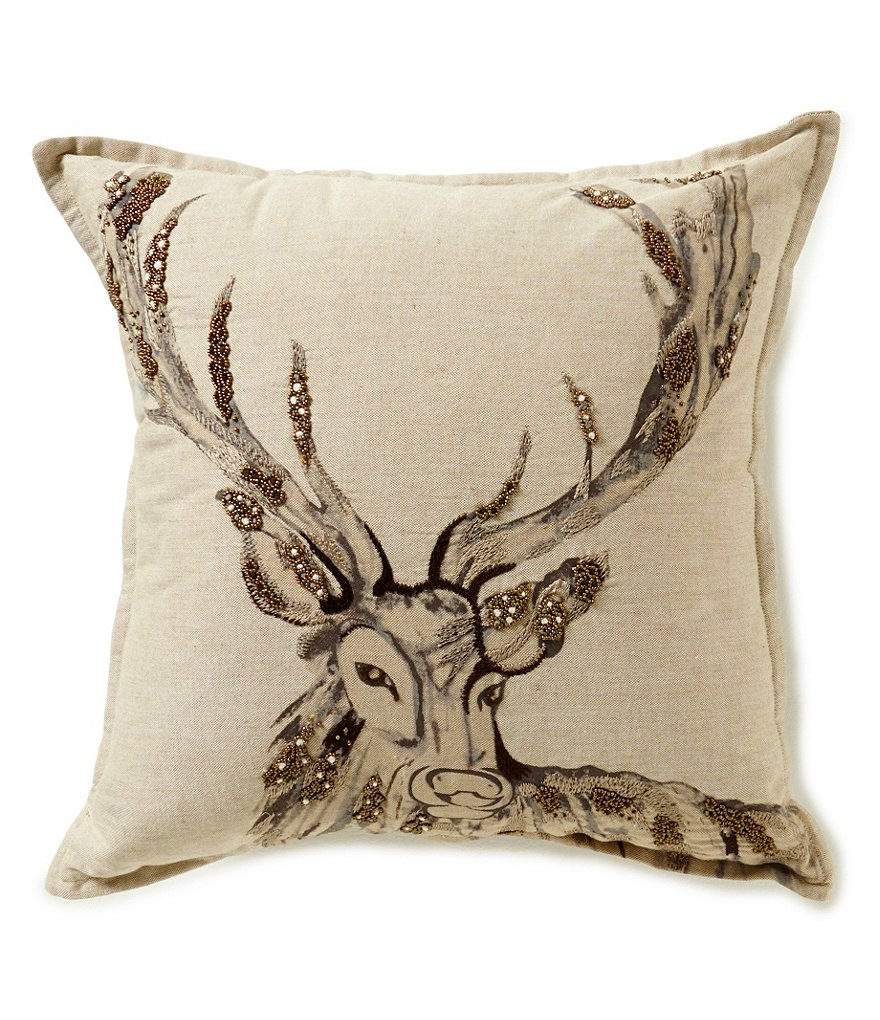 Noble Excellence Nature's Neutrals Stag-Embroidered Square Pillow